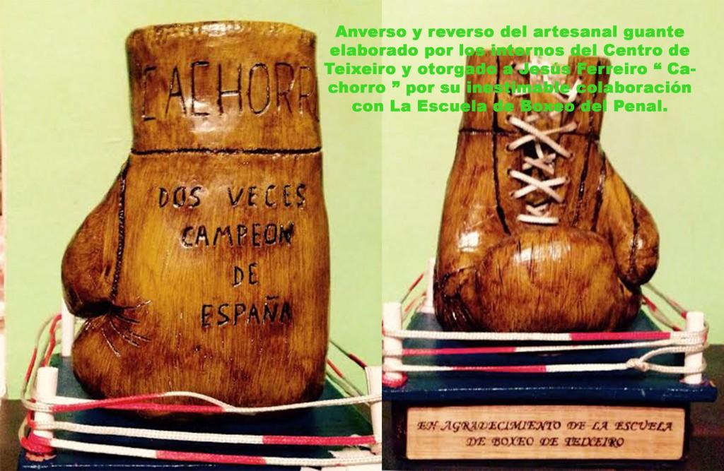 Detalles del artesanal trofeo de los reclusos de Teixeiro. cortesía de Cachorro.