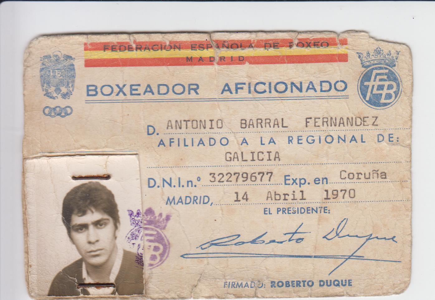 Fotocopia de licencia de comienzos del setenta. Esta en concreto corresponde al editor de boxeodemedianoche.com.