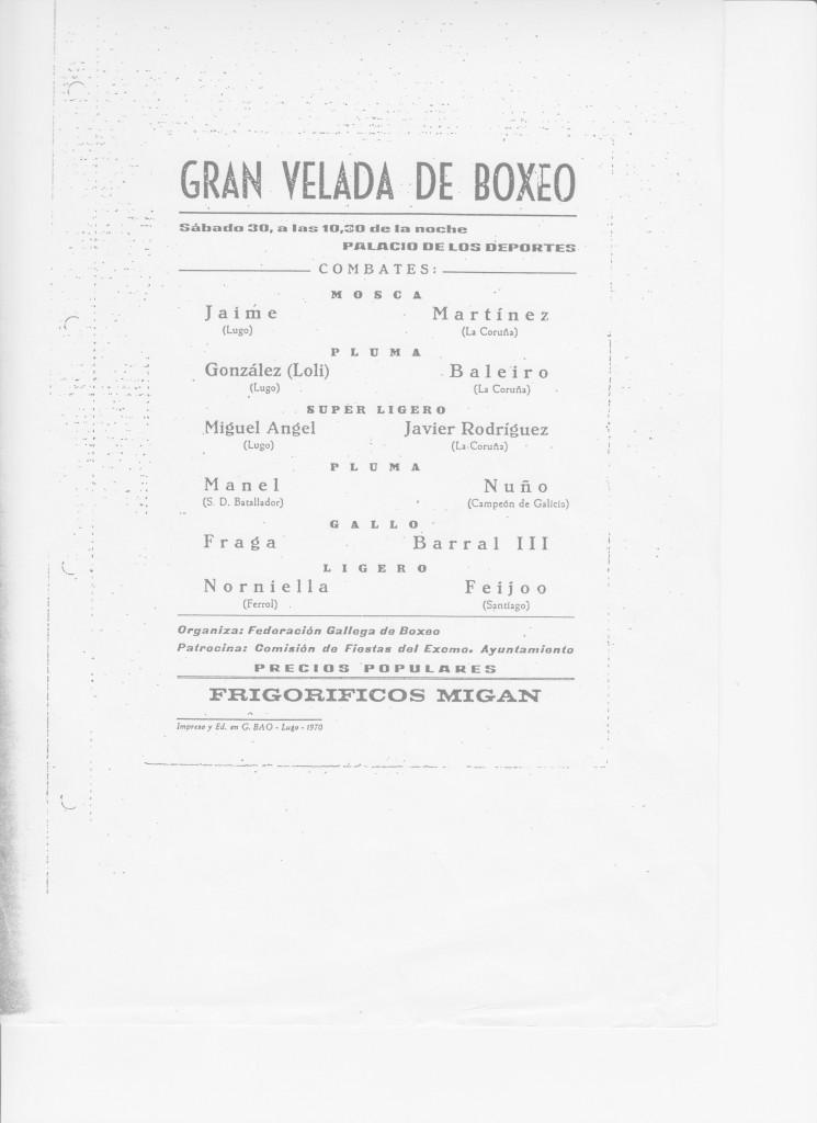 Cartel antiguo de una velada promovida por el Ayuntamiento de Lugo con el patrocinio de Frigorifica Frigam en el Pabellón de Deportes de la ciudad amurallada.