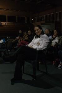 Eva María Sánchez sobre la silla de juez-árbitro. foto Parreño.