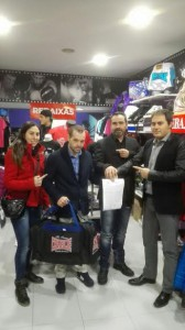 Brañas, que apadrino el acto,con Moncho, Dieguez y Planas. foto cortesia de TopBoxing