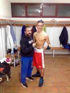 Javier Izquierdo y su preparador Iago Barros. foto Iago Barros