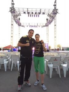 Marta Sánchez Y Chano Planas en el escenario le velada celebrada en Mexical.