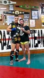 Iron Quintas, en la imagen con su entrenador Iago Barros.