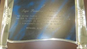 Detalle del trofeo entregado a Iago Fernández.