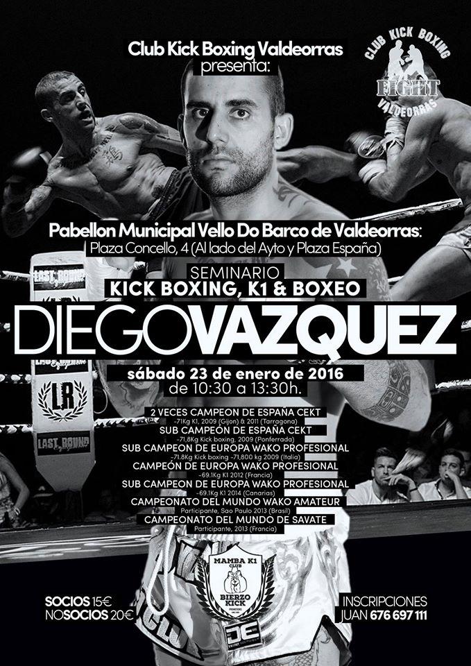 Caetel promocional del seminario organizado por el Club Kick Boxing Valdeorras.