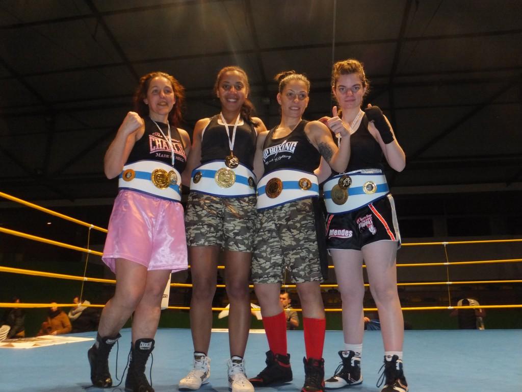 MONTSE REY, FANI MENDES, ANA ACEBEDO y ALBA FAGIL poquer de ases del boxeo femenino gallago.