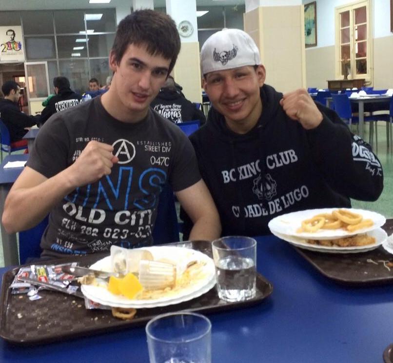 BRIAN ARANIBAR (izda) con TRUJILLO en los Campeonatos del pasado ejercicio. foto Boxing Club Cidade de Lugo