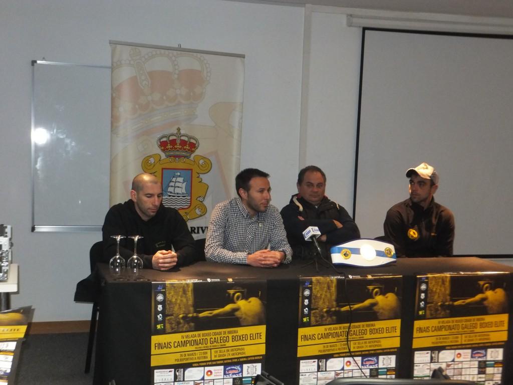 El Conselleiro de Deportes ANXO ORELLÁN durante la presentacio´n de la IV VELADA DE BOXEO CIDADE DE RIVEIRA.