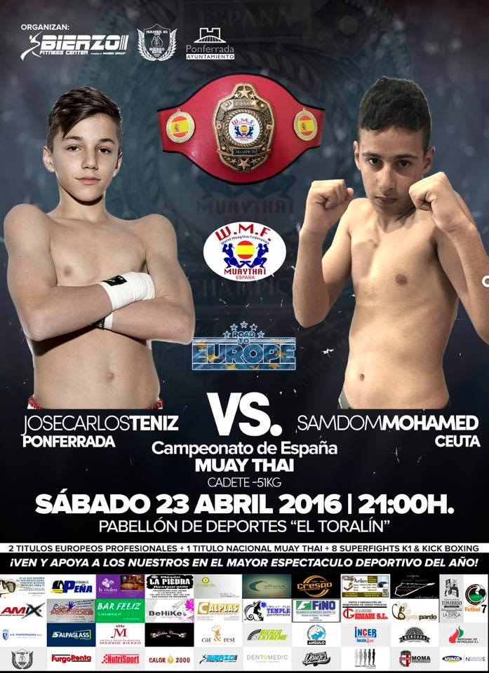 Dos proyectos de futuro como JOSÉ CARLOS TENIZ y SAMDOM MOHAMED, disputarán el actual Campeonato de España de Muay Thai.