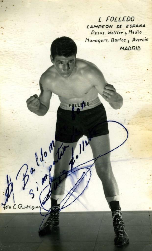 Fotografía autografiada de LUIS FOLLEDO CARMONA. archivo boxeodemedianoche