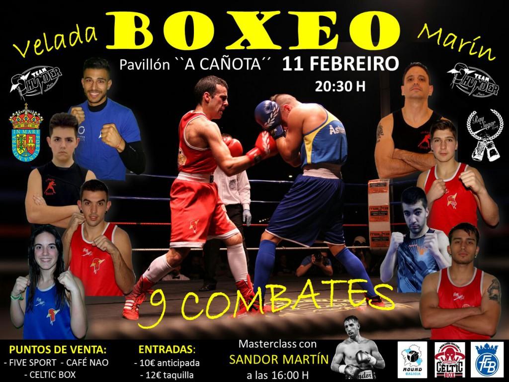 Cartel que promociona la velada del inicio del curso boxístico en A Cañota de Marín.