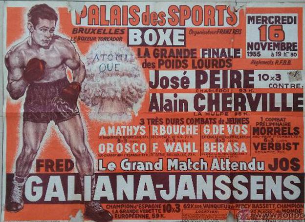 Cartel de una velada en el Pabellón de los Deportes de París, donde se anuncia a FRED GALIANA como: Le boxeur torero. foto web
