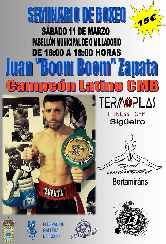 """Cartel anunciador del Curso de Boxeo que impartirá Juan """"Boom Boom"""" Zapata en Ames."""
