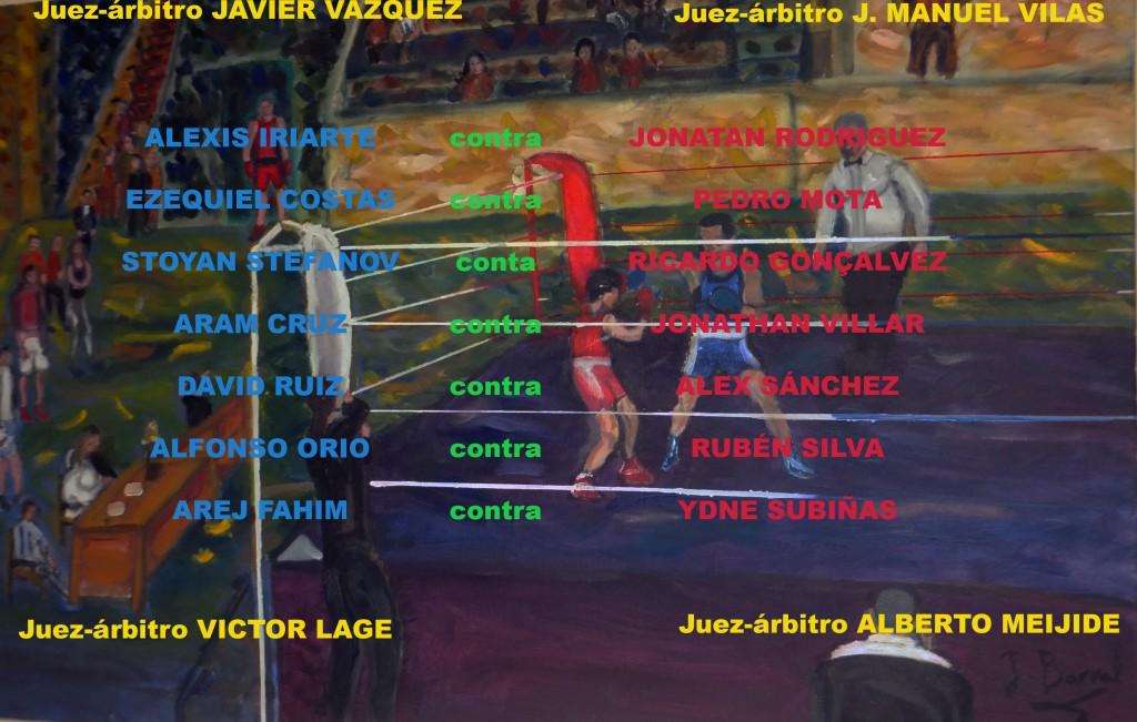 Montaje con la terna arbitral y los nombres de los contendientes en el II Trofeo C.P Saudade. Juan Barral