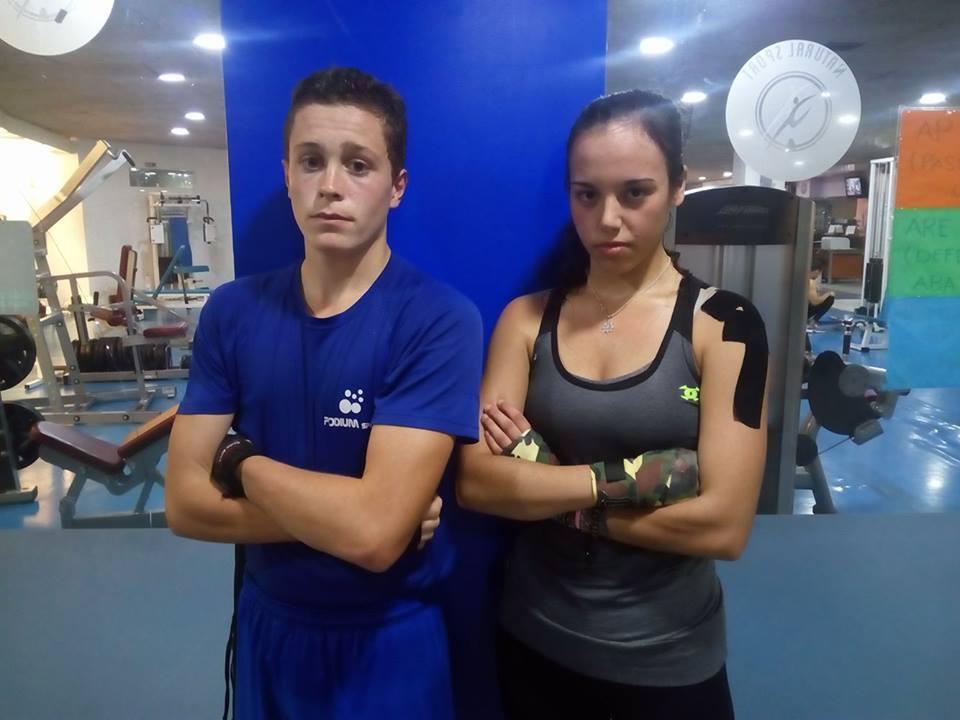 Mara Montemuiño y Ángel López, dos promesas de La Escuela de Boxeo El Canario. foto cedida.