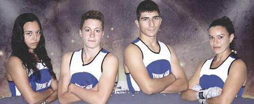 Los cuatro mosqueteros de la Escuela de Boxeo El Canario para el día 30: MARA, ÁNGEL, RUBÉN y PAULA. Cedida.