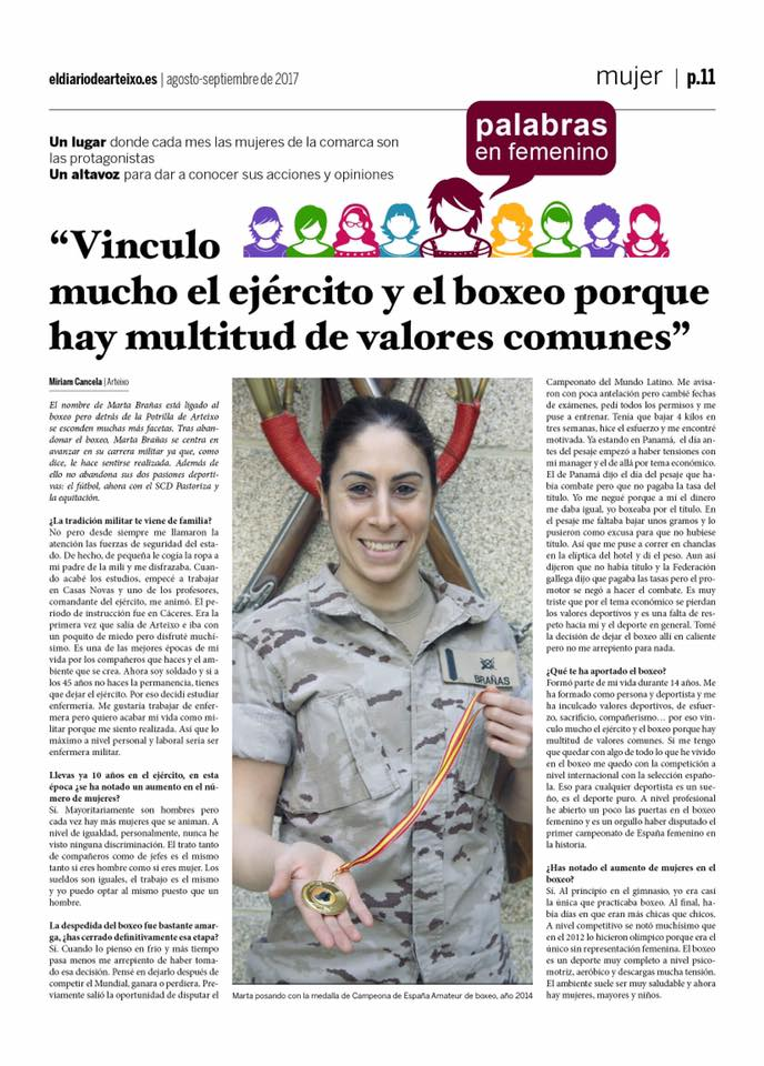 Página del diariodearteixo.es con la entrevista hecha a la soldado profesional Marta Brañas Rumbo.