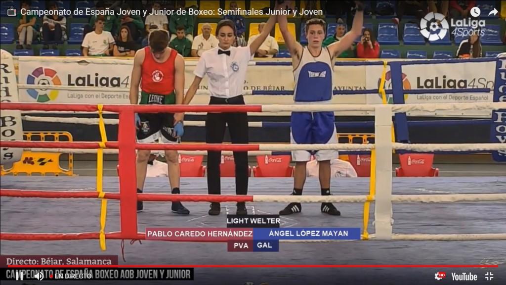 Imagen de la transmisión de LaLiga4Sports, con la proclamación de vencedor y  semi-finalista Ángel López Mayan.
