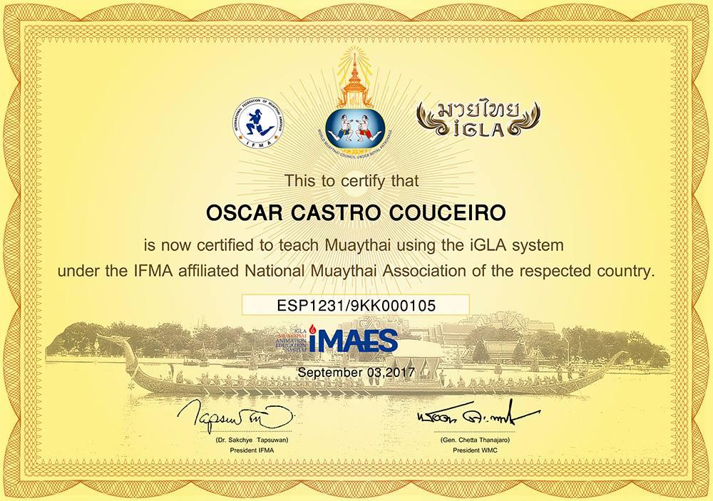Oscar castro Couceiro es el único instructor de Galicia que puede acreditar esta Titulación.