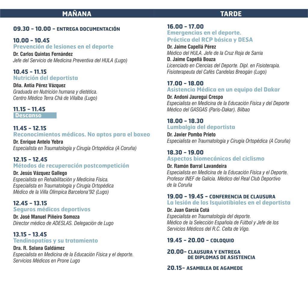 Horarios de las XXVII Jornadas de Medicina del Deporte ( AGAMEDE )