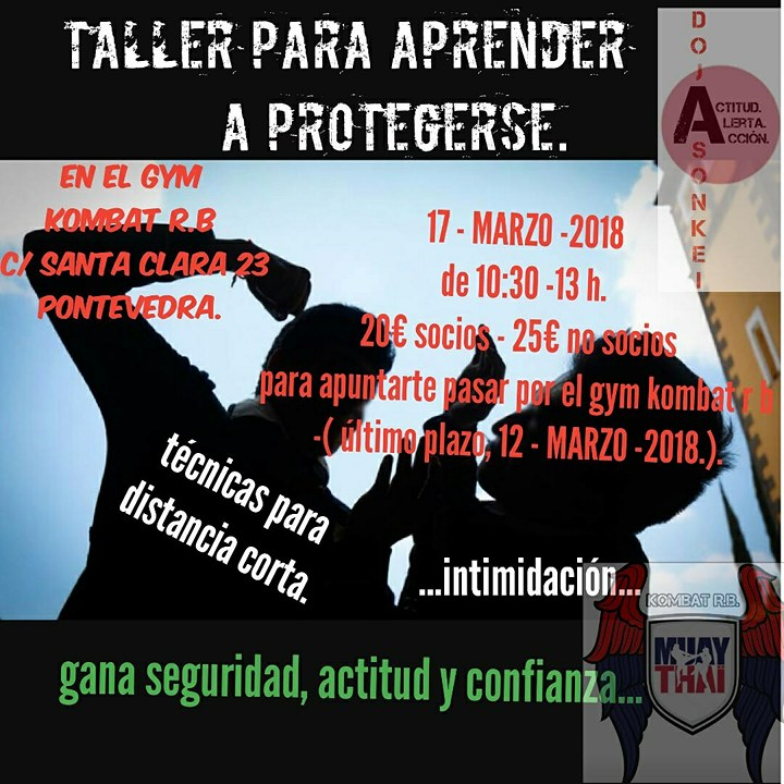 Cartel del Taller de Defensa organizado por el KOMBAT RÍAS BAIXAS cortesía de EMMA ONANDíA
