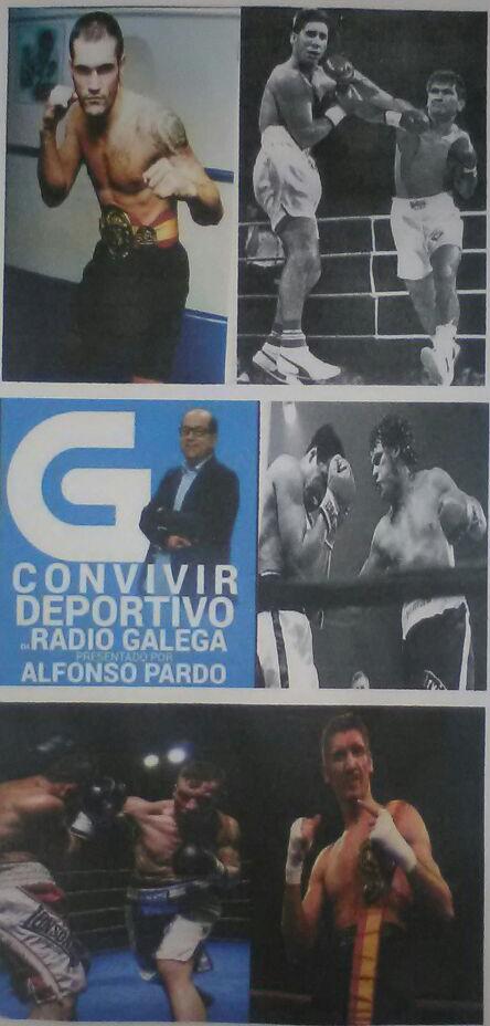 Montaje fotográfico del logotipo del programa de Radio Galega que presenta Alfonso Pardo, con las imágenes de las figuras del boxeo que estarán invitadas a la tertulia radiofónica sobre el deporte de los guantes. foto cedida por Sergio Seco.