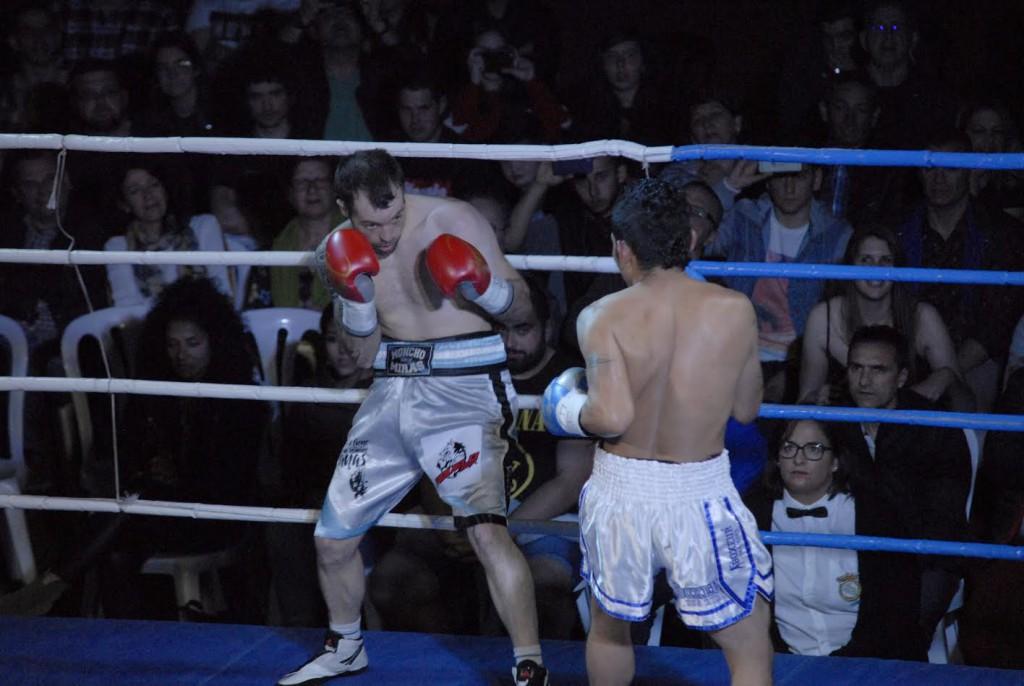 Instantánea del combate entre Moncho Mirás y José Hernández disputado en Narón,cedida por  Xoan Porto