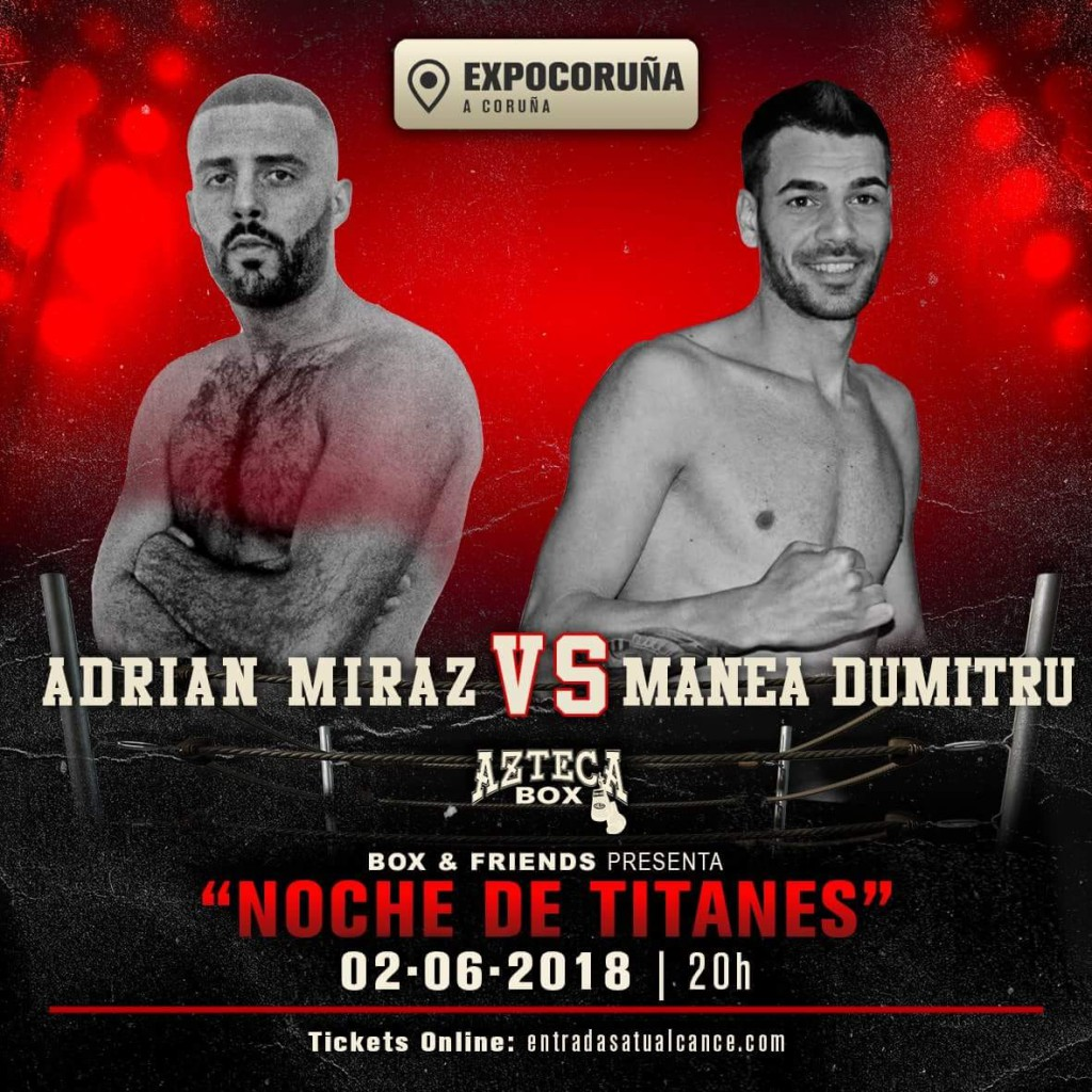 """El flamante profesional coruñes Adrian """" El Cazador """" Miraz a mantenerse invicto frente al rumano Dumitru. foto Azteca Box"""