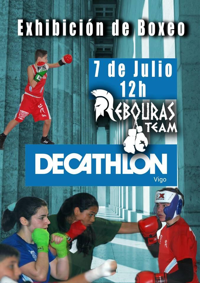 Afiche publicitario de la Exhibición de boxeo cortesía de Rebouras Team.