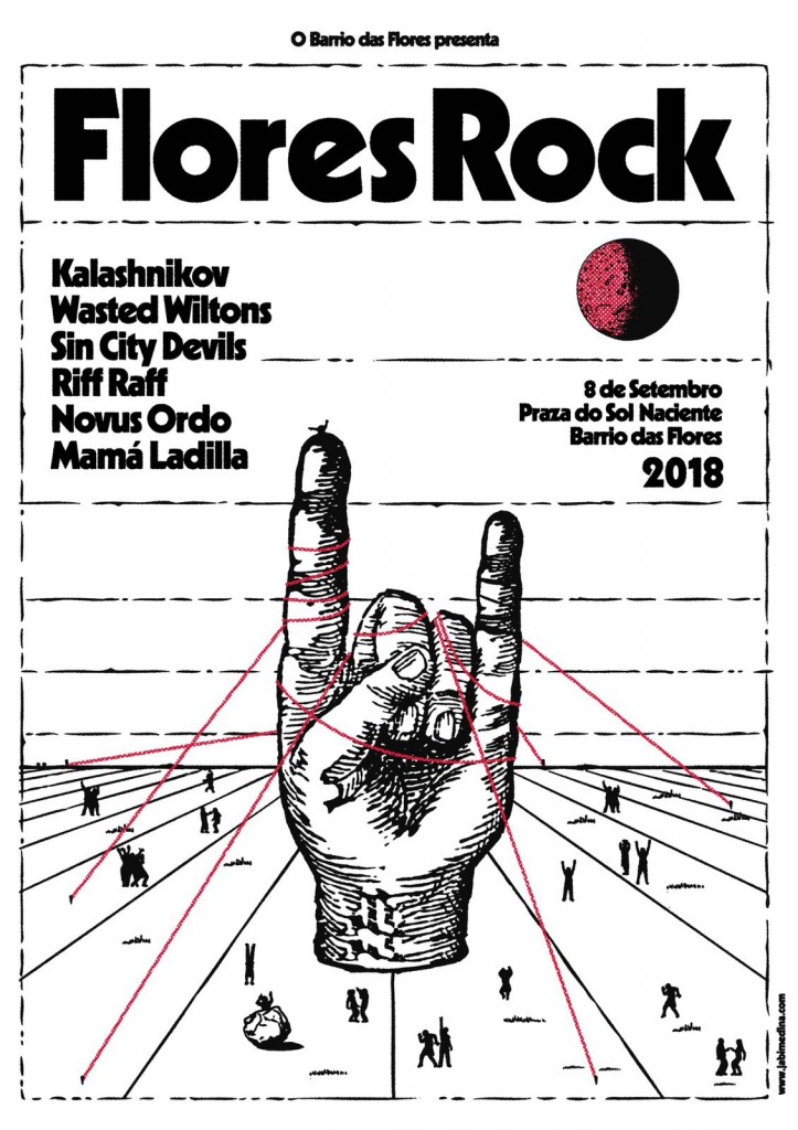 """David Pujades """" Dracu """" es experto en organizar acontecimientos como el Flores Rock, cuyo cartel para esta edición reproducimos por cortesia del propio Dracu."""