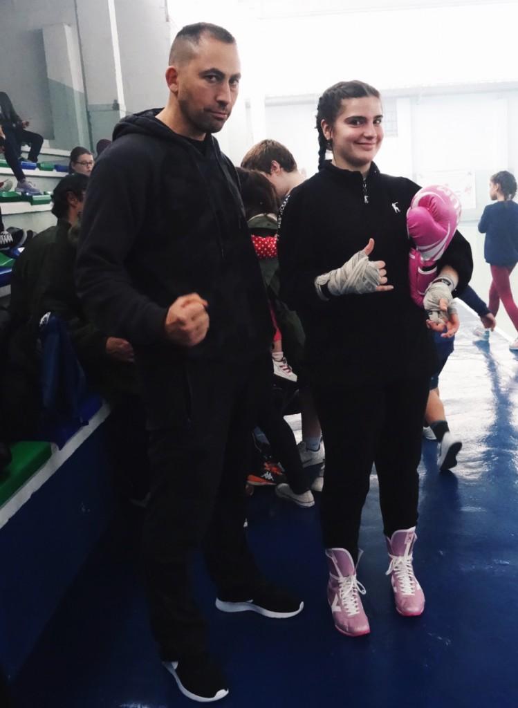 Sara Sastre Cochón con su mentor deportivo José Antelo. Cedida
