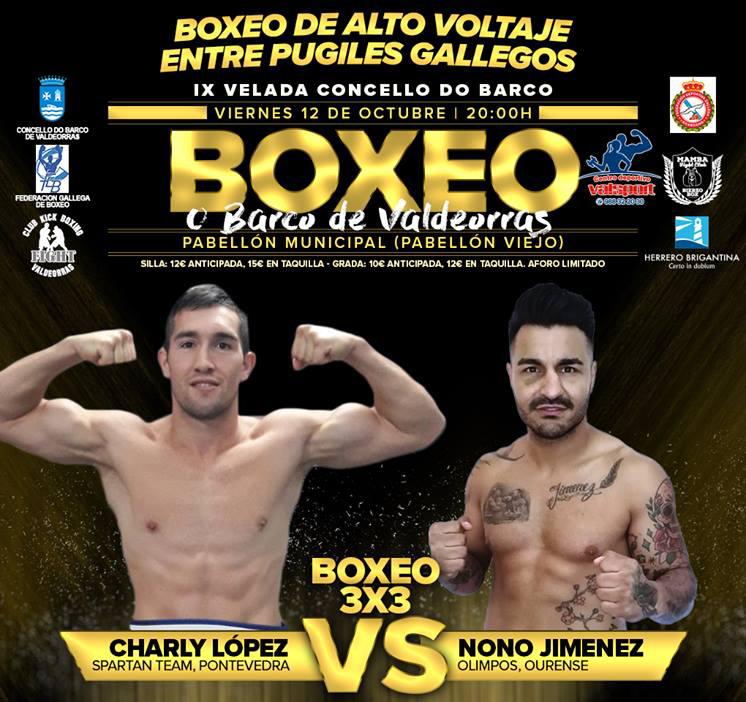 El impresionante combate que se espera entre Nono Jimenez y Charly López no lo pueden perder los verdaderos aficionados y expertos del boxeo. cartel cortesía de Juan J. Pardo