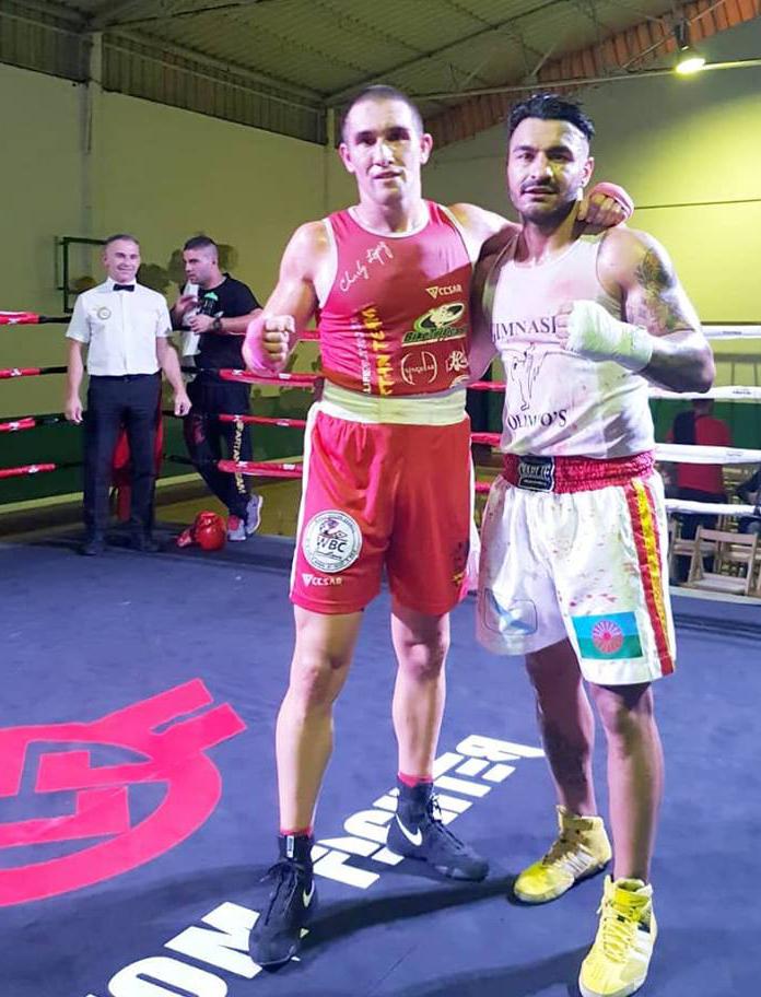 Los dos grandes protagonistas de la noche de boxeo en O Barco, Charly López y Nono Jimenez. Cedida