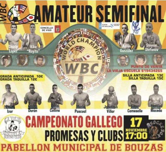 Detalle del afiche publicitario del evento boxístico del sábado en el Municipal de Bouzas
