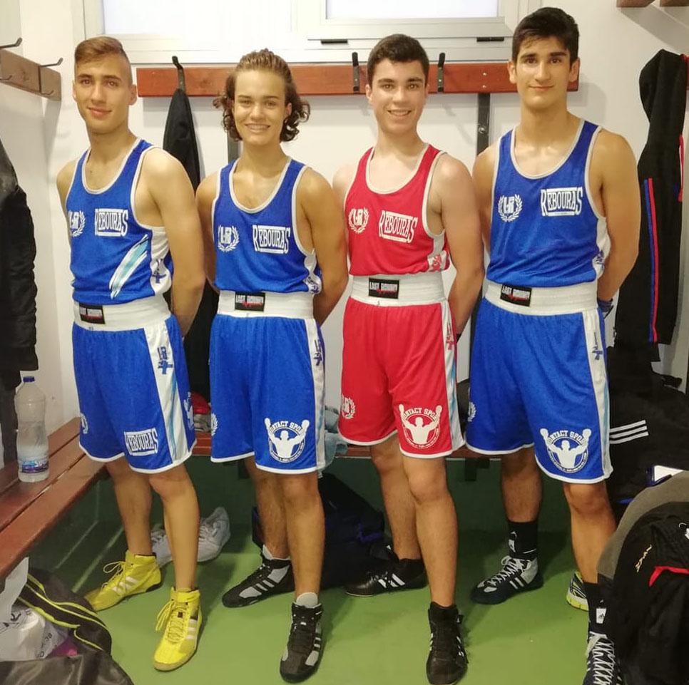 Los cuatro Mosqueteros del Rebouras Team que alcanzarón 3 medallas de Bronce: Ponce de León, Eneas Valverde, Alexandre Juncal, Ivan Filgueira. Foto cedida por Rebouras Team.