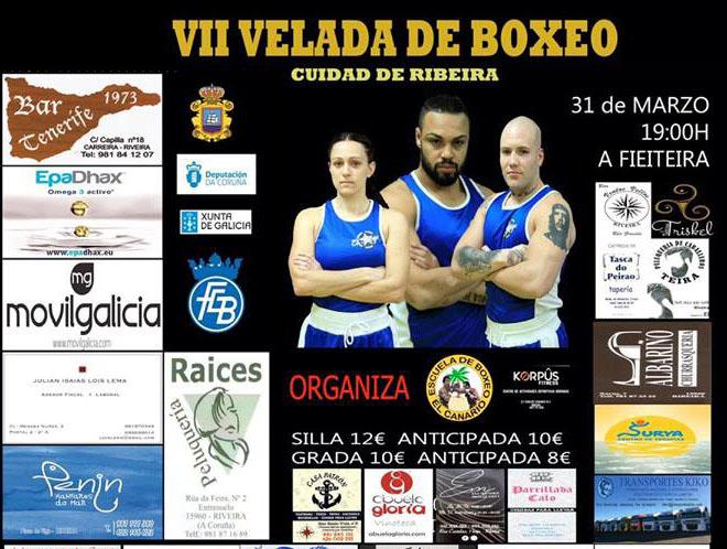 Afiche publicitario cortesía de Israel benítez con la imagen de los tres mosqueteros debutantes en boxeo Clara Millares, Diego