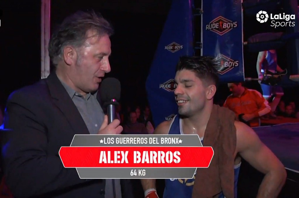 """Alex """" Ciclón """" Barros debutó con triunfo bajo la presencia de las cámaras de LaLiga4Sports. En sus declaraciones expresó su agradecimiento al entrenador y seguidores del Club deportivo Sagabox que se desplazarón hasta Las Gaunas. Imagen LaLiga4Sports."""