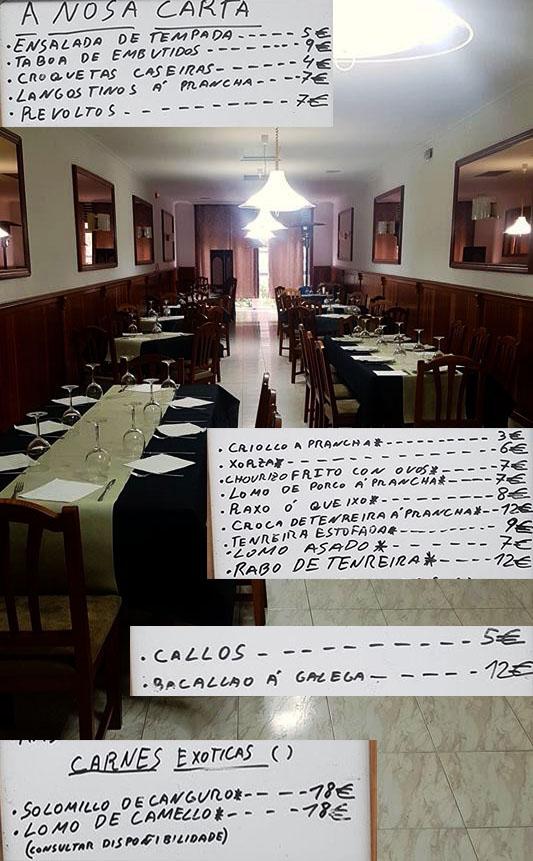 Detalles de la carta y menús que se pueden degustar en el comedor del Bar restaurante Os Peares. Cedida.