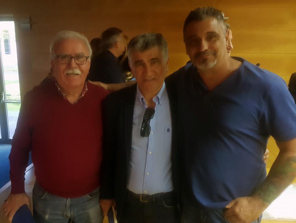Francisco Amoedo Carlos Migel Roríguez y Santiago Rodríguez. Menciones Especiales del Boxeo galaico 2018. foto cedida