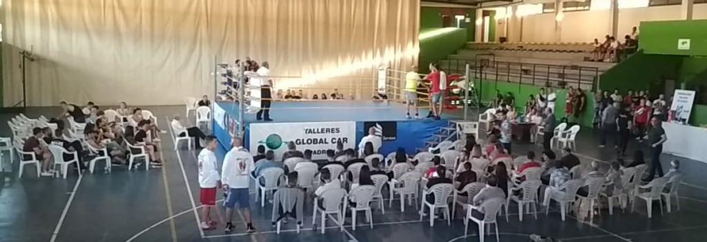 Detalle del Pabellón Grupo Escolar durante la celebración de las primeras semifinales gallegas, en una instantanea enviada por Cristian teira.