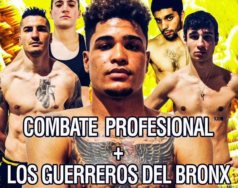 Detalle del cartel anunciador con los rostros de 5 de los protagonistas del evento boxístico del día 22 en Bouzas.