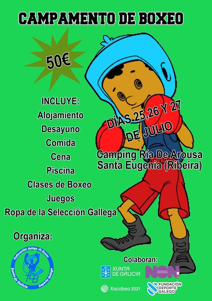 Afiche publicitario del Campamento Estival de Boxeo organizado por la FGB y publicado en la web federativa.