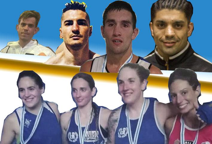 Algunos componentes del combinado gallego. De abjo hacia arriba: Zaira Corchero, Olga Vázquez, Christine Oya, Lorea Murgoitio, Ciclón Barros, Charly López, Rayito García y Goyo Rubio.