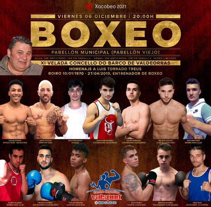 Afiche publicitario de la XI Velada Concello do Barco organizada por Club Kickboxing Valdeorras y  Mamba Fight Club. Cedidida
