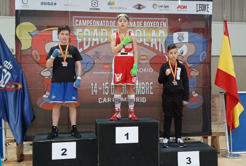Uno de los podios del primer Campeonato de España de Boxeo Escolar. Ocupando el primer puesto del cajón se encuentra el vigues Adán Molada García. Foto Rebouras Team.