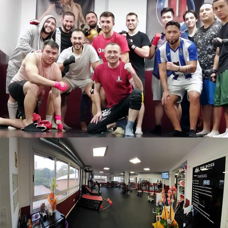 El campeón de Europa Valery Yanchy posa con un grupo de alumnos sobre una panorámica del Centro Deportivo The Boss. Cedida