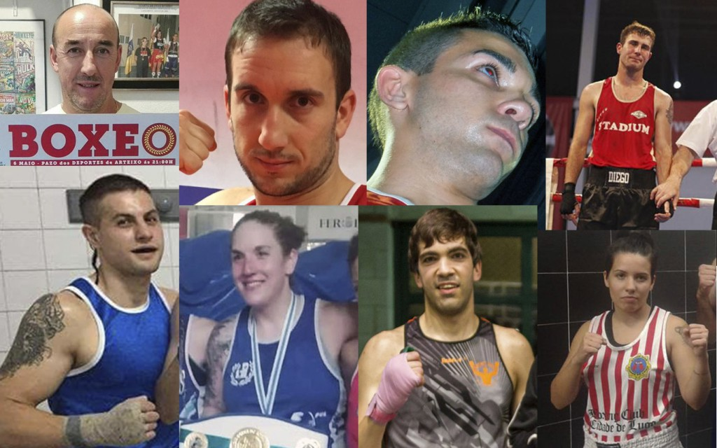 Fotomontaje de protagonista que intervinieron en la velada de boxeo y savate organizada por Suso Penela Tajes en Arteixo. Cedidas