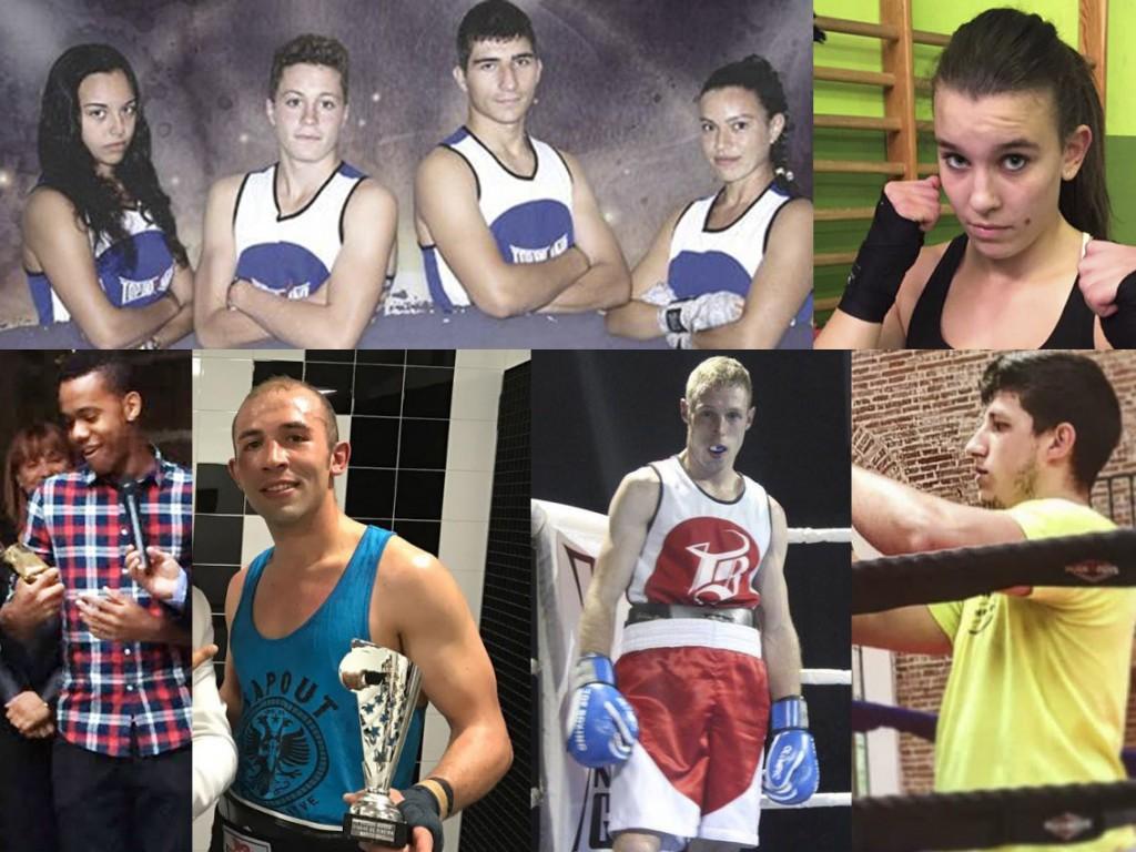 Fotomontaje de fotos cedidas de algunos de los protagonistas de la Velada organizada por La Escuela de boxeo el Canario en el Polideportivo A Fieiteira.
